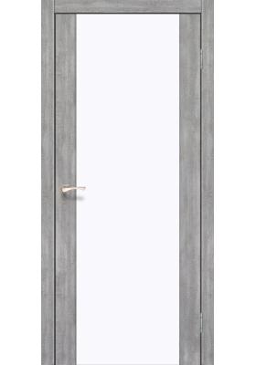 Межкомнатные двери, Экошпон двери - Межкомнатная дверь Korfad SR-01 эш-вайт белое стекло триплекс 8 мм