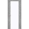 Межкомнатная дверь Korfad SR-01 эш-вайт белое стекло триплекс 8 мм