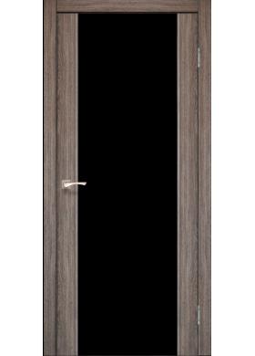 Межкомнатная дверь Korfad SR-01 дуб грей черное стекло триплекс 8 мм