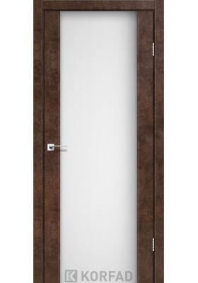 Межкомнатные двери, Экошпон двери - Межкомнатная дверь Korfad SR-01 арт бетон белое стекло триплекс 8 мм