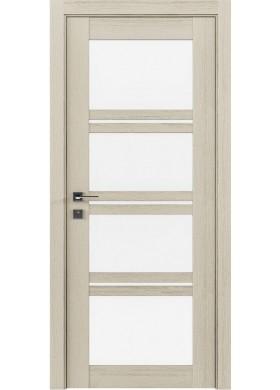 Межкомнатная дверь Rodos Quadro каштан беж со стеклом