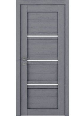 Межкомнатная дверь Rodos Quadro каштан серый полустекло